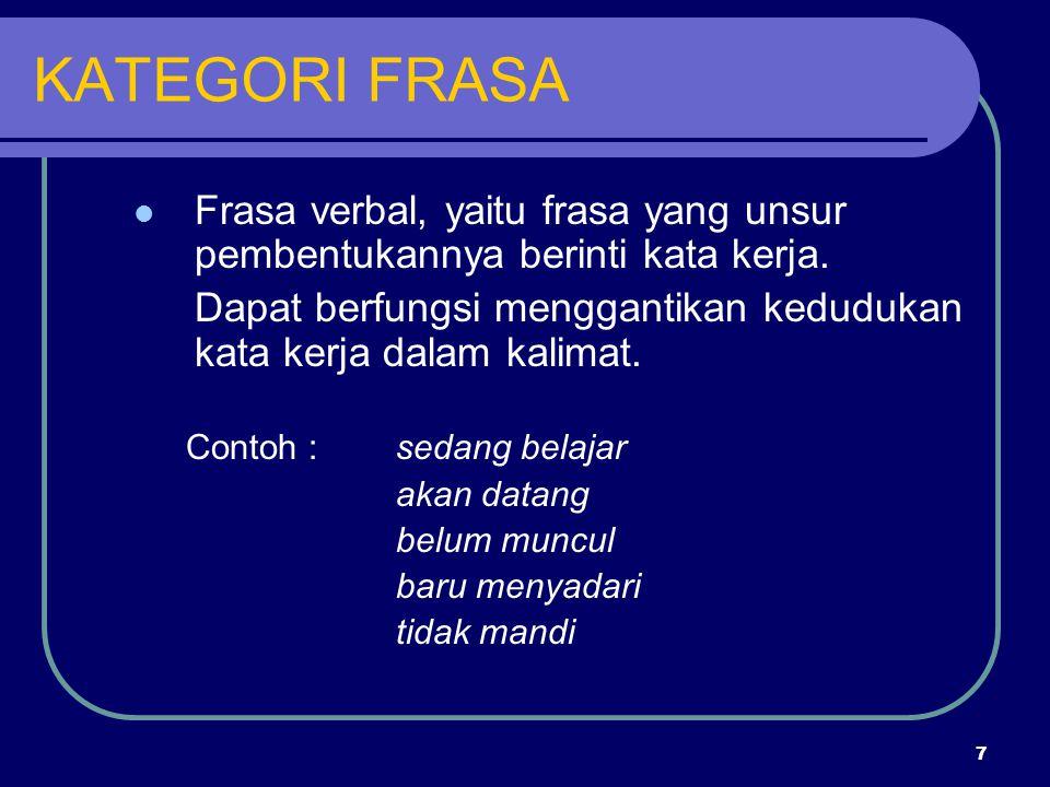 KATEGORI FRASA Frasa verbal, yaitu frasa yang unsur pembentukannya berinti kata kerja.