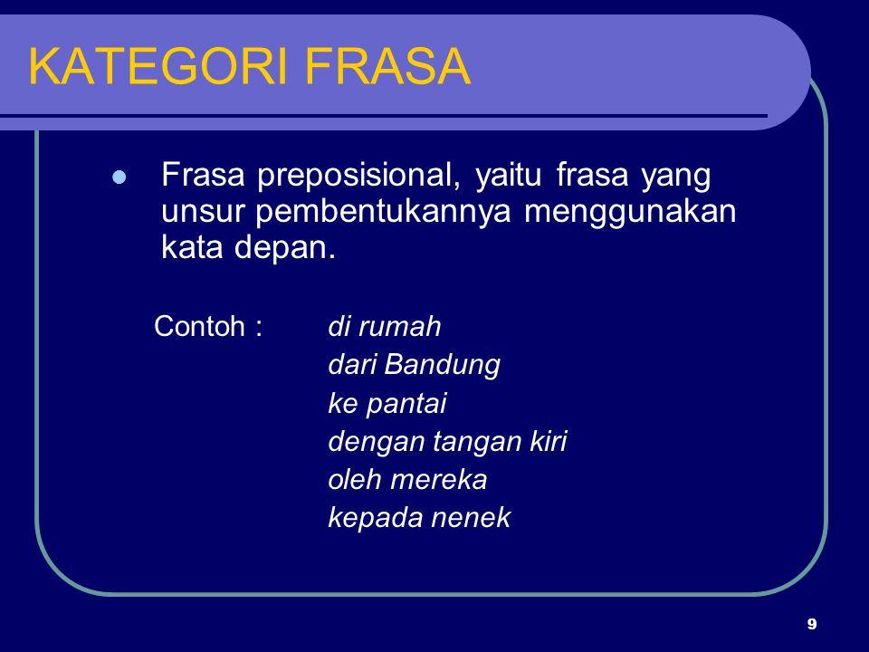 KATEGORI FRASA Frasa preposisional, yaitu frasa yang unsur pembentukannya menggunakan kata depan. Contoh : di rumah.