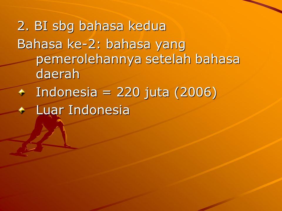 2. BI sbg bahasa kedua Bahasa ke-2: bahasa yang pemerolehannya setelah bahasa daerah. Indonesia = 220 juta (2006)