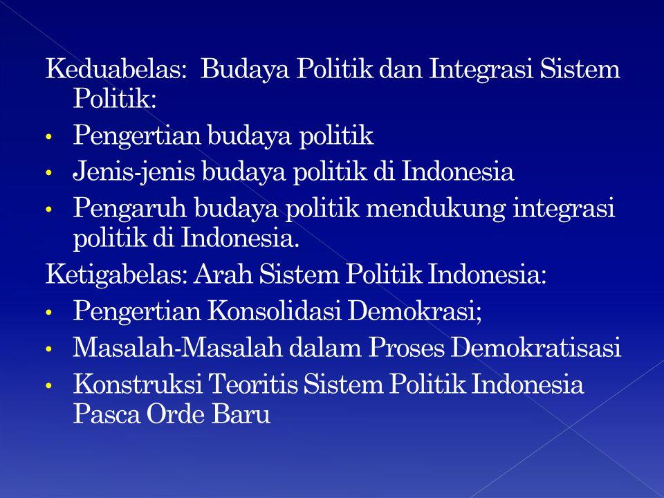 Keduabelas: Budaya Politik dan Integrasi Sistem Politik: