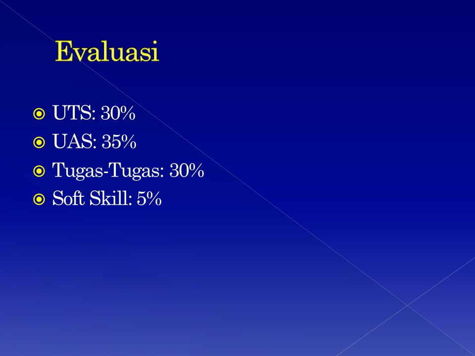 Evaluasi UTS: 30% UAS: 35% Tugas-Tugas: 30% Soft Skill: 5%