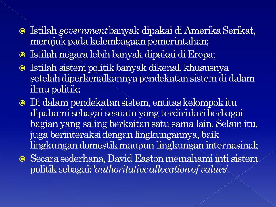 Istilah government banyak dipakai di Amerika Serikat, merujuk pada kelembagaan pemerintahan;