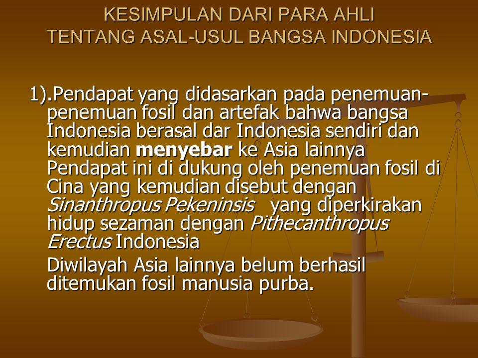 KESIMPULAN DARI PARA AHLI TENTANG ASAL-USUL BANGSA INDONESIA