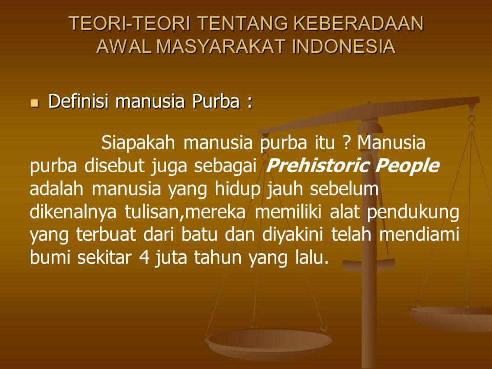 TEORI-TEORI TENTANG KEBERADAAN AWAL MASYARAKAT INDONESIA