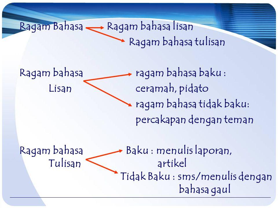Ragam Bahasa Ragam bahasa lisan