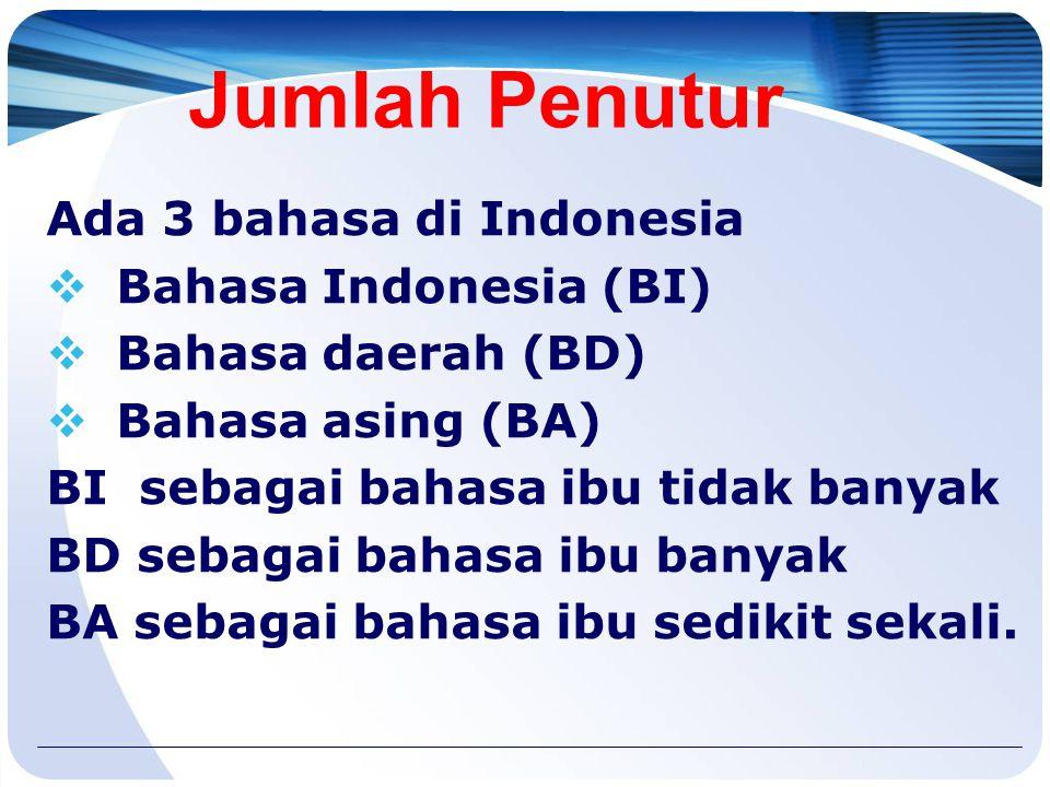 Jumlah Penutur Ada 3 bahasa di Indonesia Bahasa Indonesia (BI)