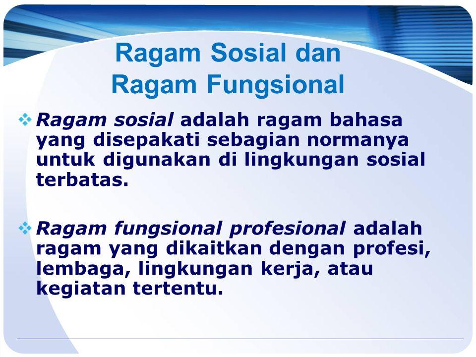 Ragam Sosial dan Ragam Fungsional