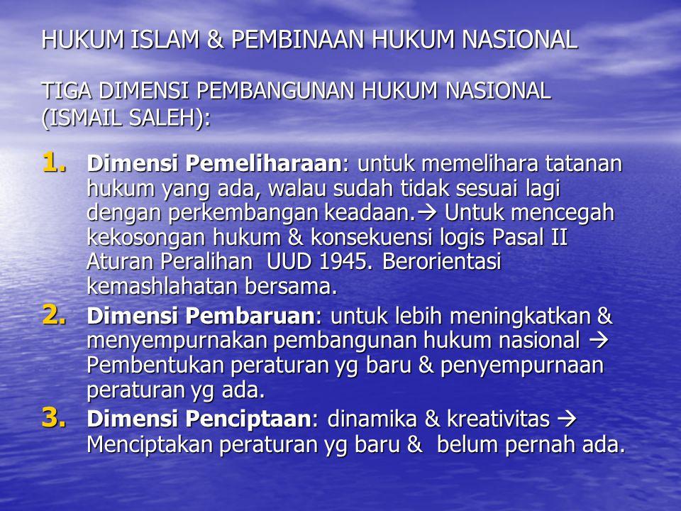 HUKUM ISLAM & PEMBINAAN HUKUM NASIONAL TIGA DIMENSI PEMBANGUNAN HUKUM NASIONAL (ISMAIL SALEH):