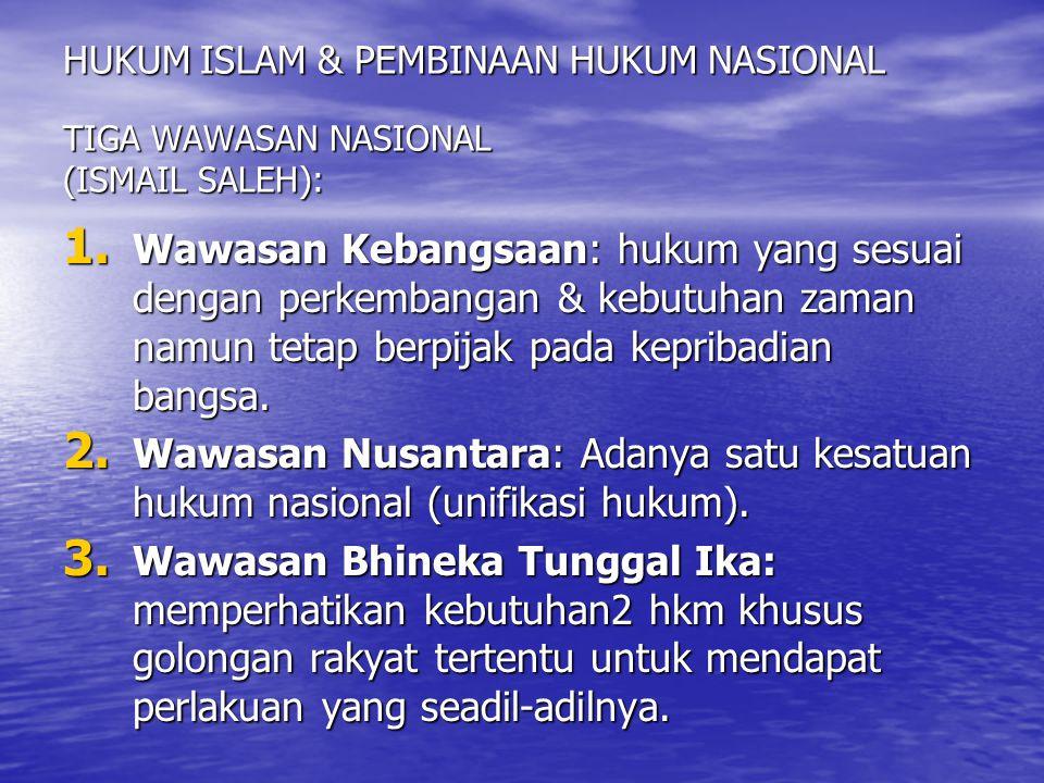 HUKUM ISLAM & PEMBINAAN HUKUM NASIONAL TIGA WAWASAN NASIONAL (ISMAIL SALEH):