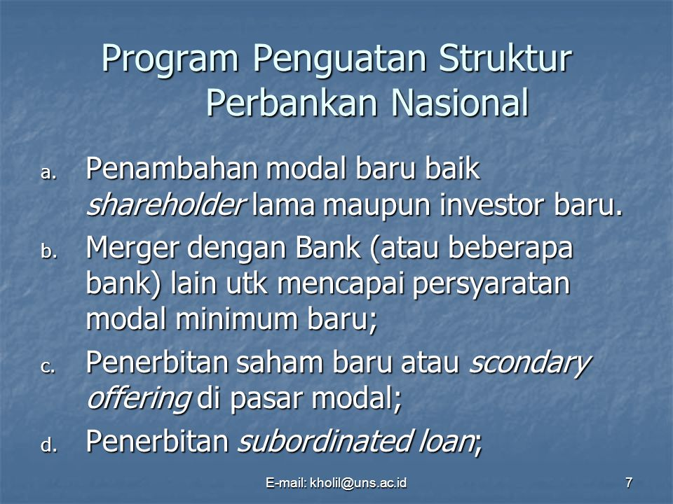Program Penguatan Struktur Perbankan Nasional