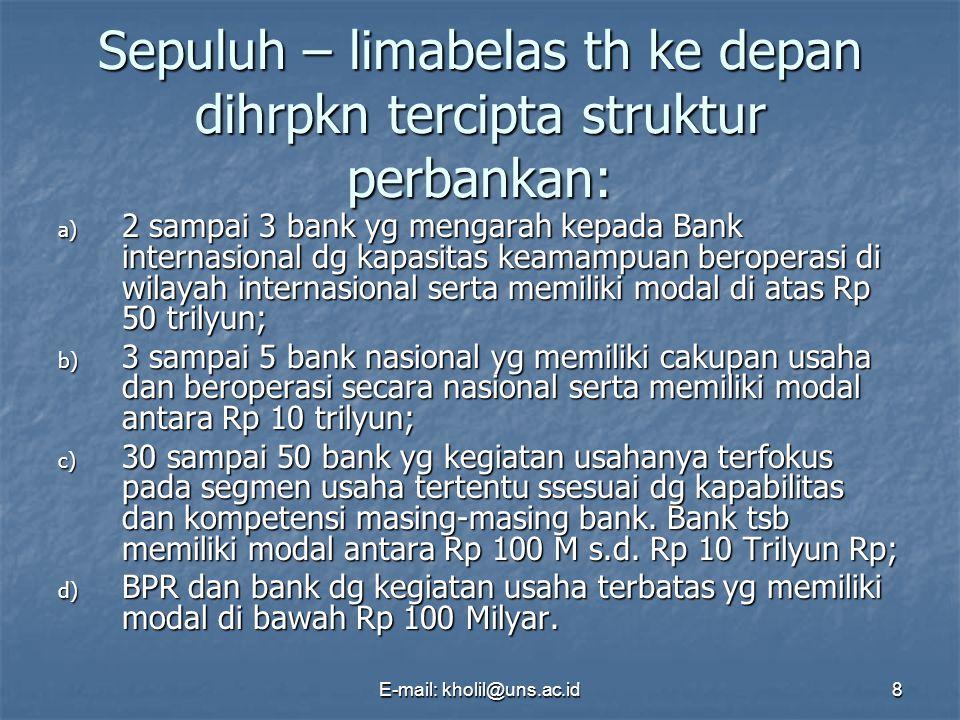 Sepuluh – limabelas th ke depan dihrpkn tercipta struktur perbankan:
