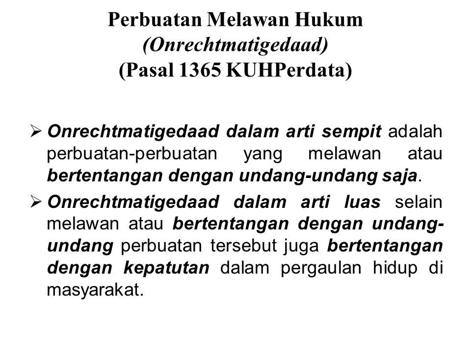 Perbuatan Melawan Hukum (Onrechtmatigedaad) (Pasal 1365 KUHPerdata)