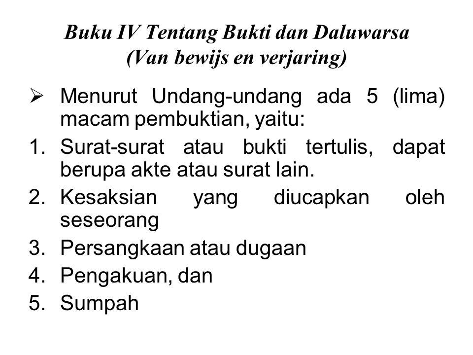 Buku IV Tentang Bukti dan Daluwarsa (Van bewijs en verjaring)