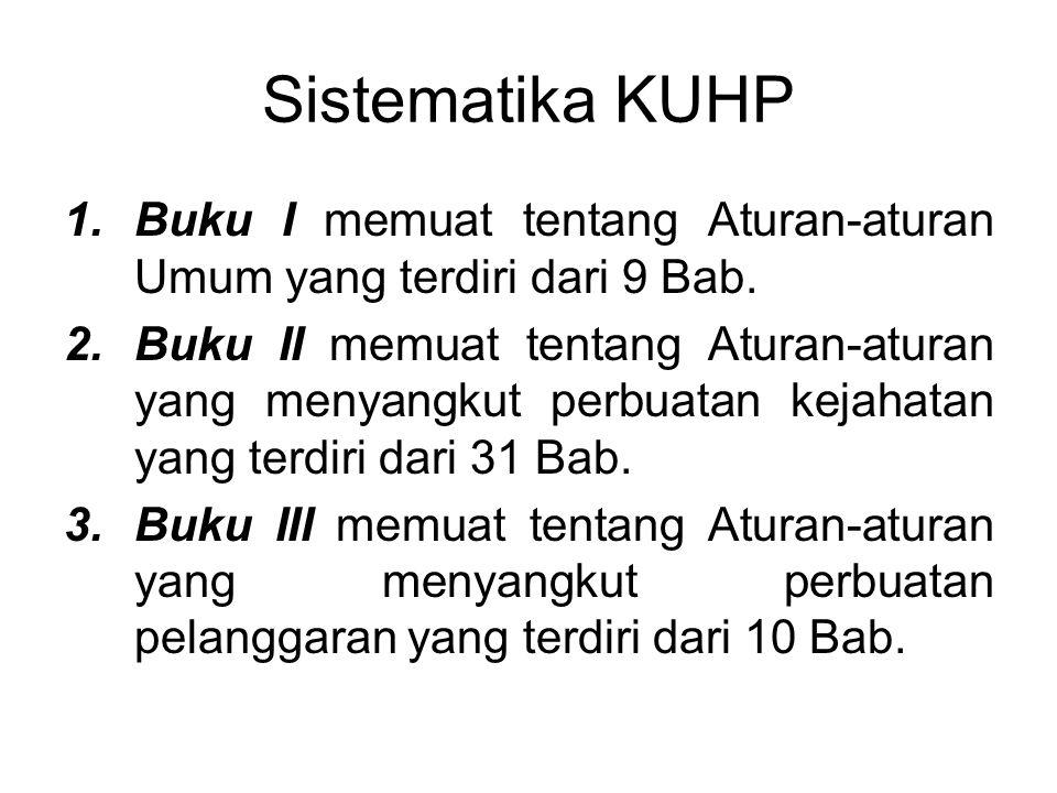 Sistematika KUHP Buku I memuat tentang Aturan-aturan Umum yang terdiri dari 9 Bab.