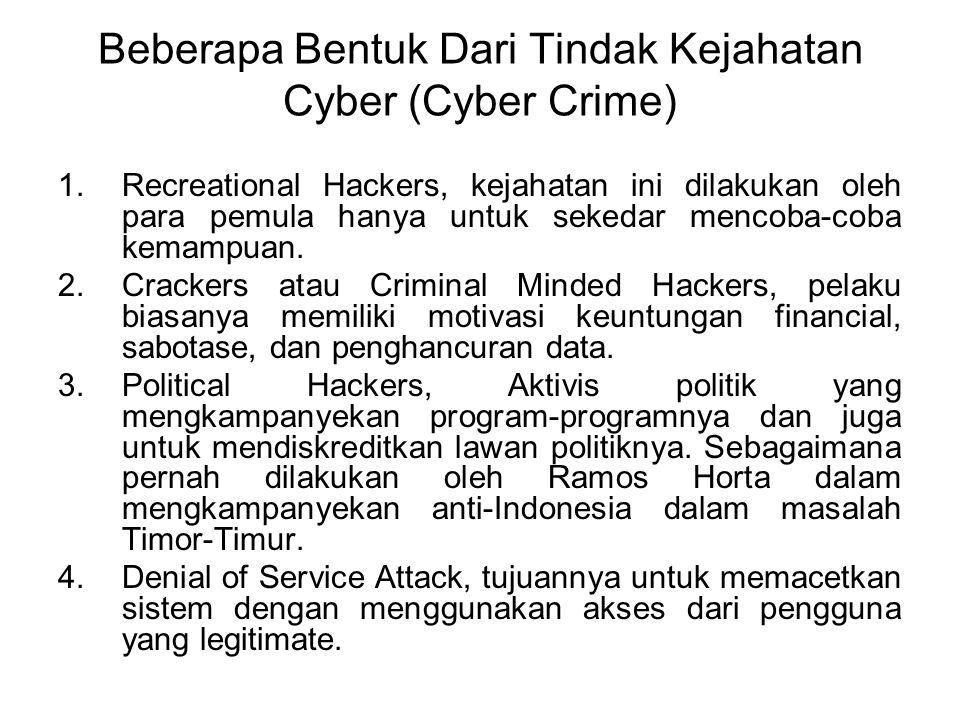 Beberapa Bentuk Dari Tindak Kejahatan Cyber (Cyber Crime)