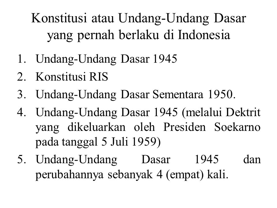 Konstitusi atau Undang-Undang Dasar yang pernah berlaku di Indonesia