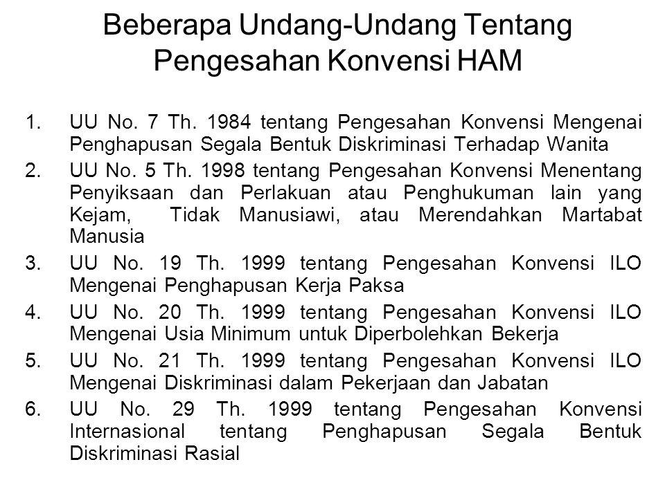 Beberapa Undang-Undang Tentang Pengesahan Konvensi HAM