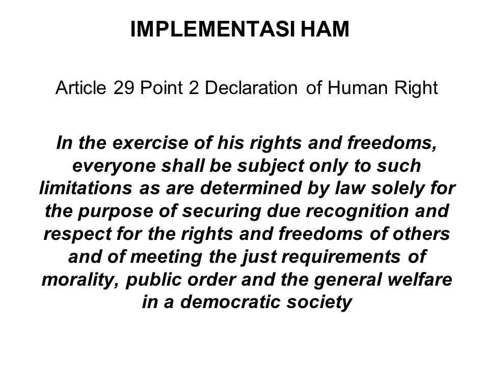 Article 29 Point 2 Declaration of Human Right