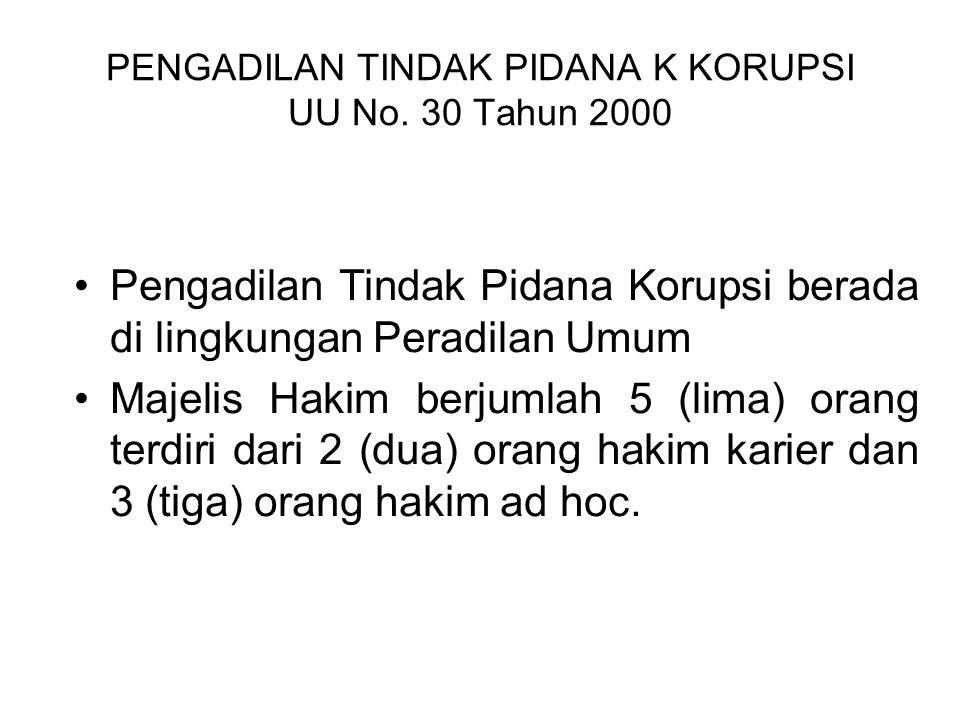PENGADILAN TINDAK PIDANA K KORUPSI UU No. 30 Tahun 2000