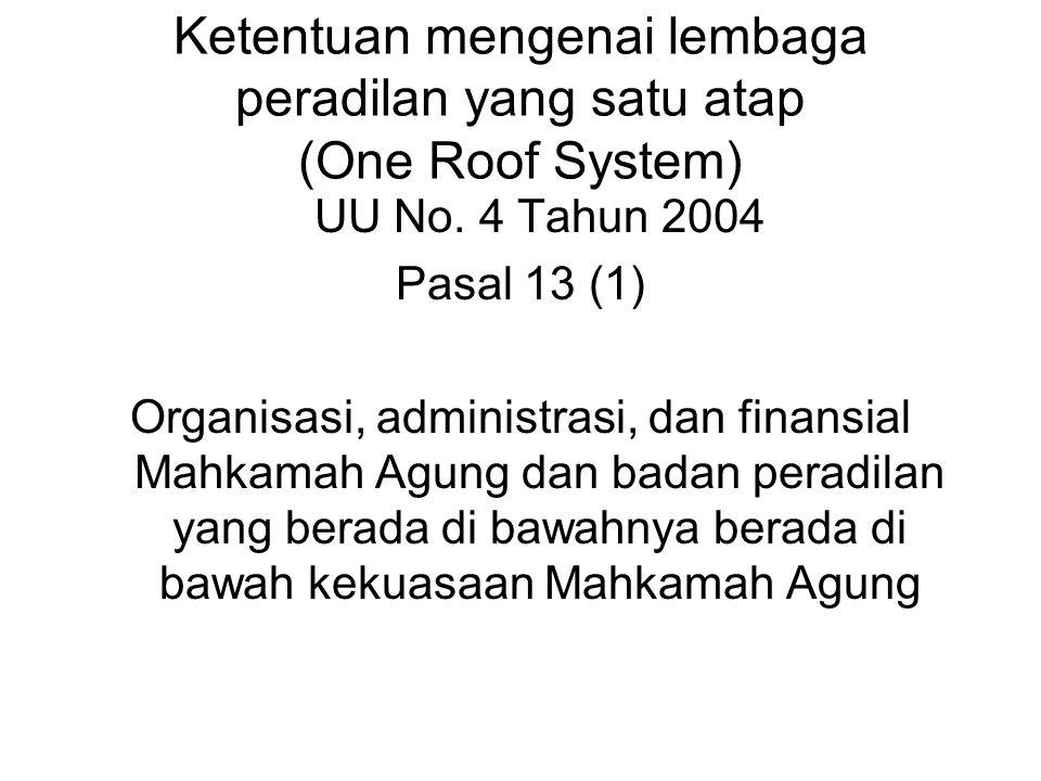 Ketentuan mengenai lembaga peradilan yang satu atap (One Roof System)