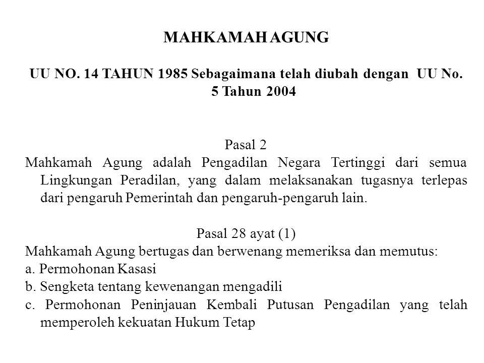MAHKAMAH AGUNG UU NO. 14 TAHUN 1985 Sebagaimana telah diubah dengan UU No. 5 Tahun 2004. Pasal 2.