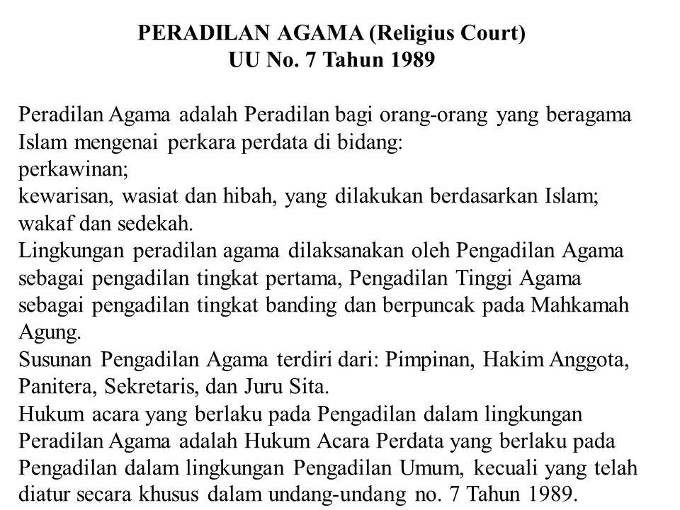 PERADILAN AGAMA (Religius Court)