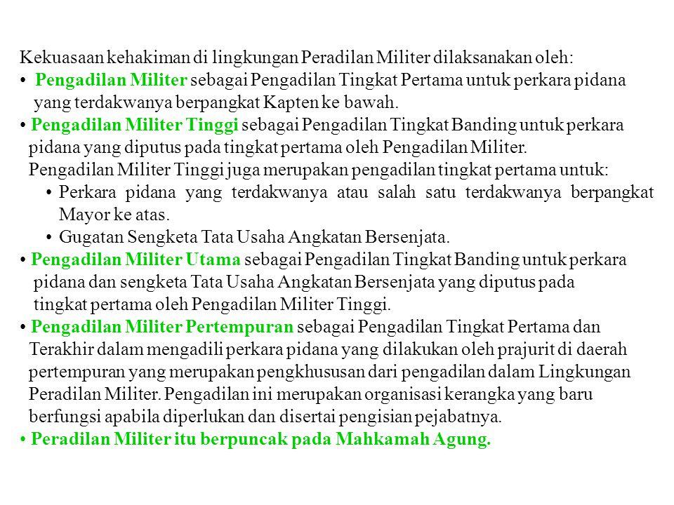 Kekuasaan kehakiman di lingkungan Peradilan Militer dilaksanakan oleh:
