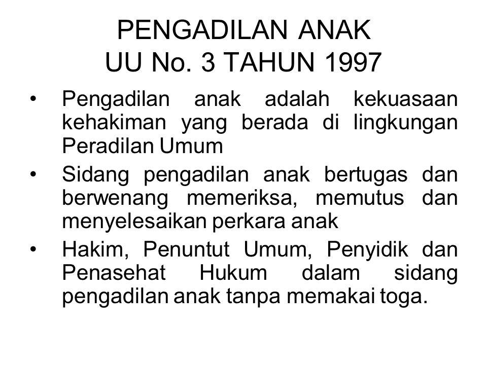 PENGADILAN ANAK UU No. 3 TAHUN 1997