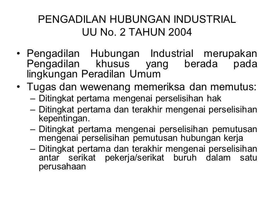 PENGADILAN HUBUNGAN INDUSTRIAL UU No. 2 TAHUN 2004