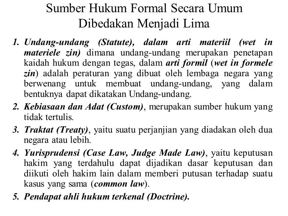 Sumber Hukum Formal Secara Umum Dibedakan Menjadi Lima