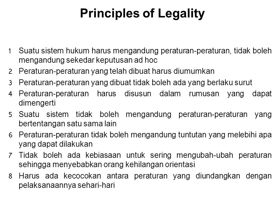 Principles of Legality