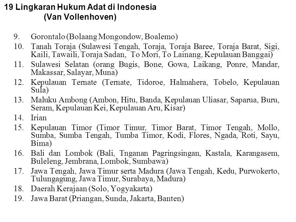 19 Lingkaran Hukum Adat di Indonesia (Van Vollenhoven)