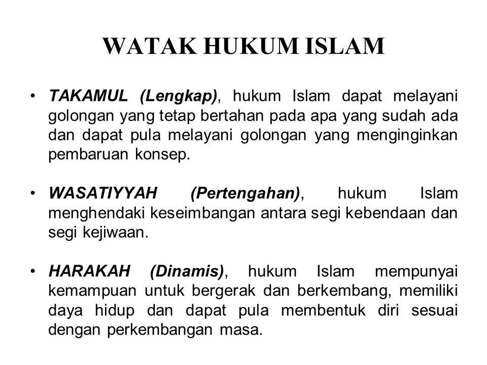 WATAK HUKUM ISLAM
