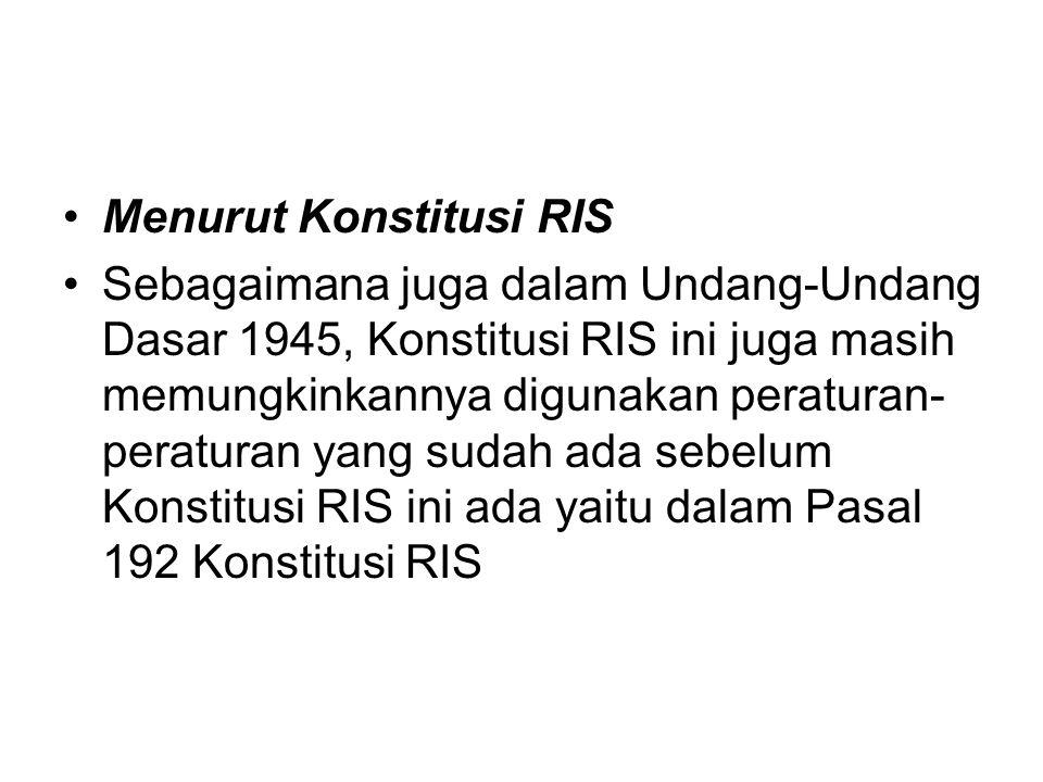 Menurut Konstitusi RIS