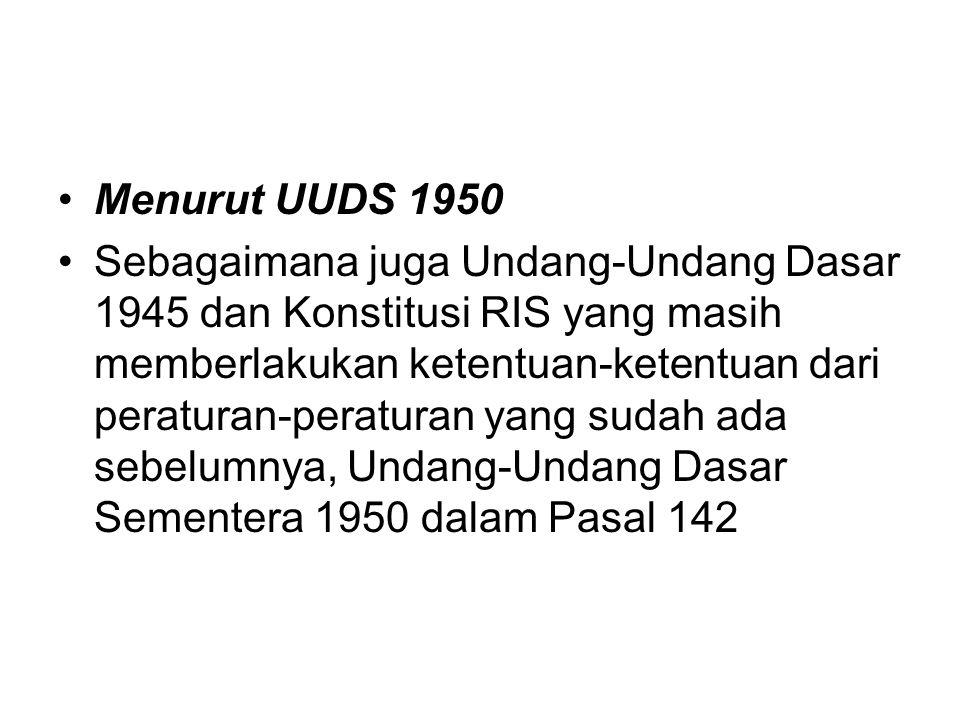 Menurut UUDS 1950