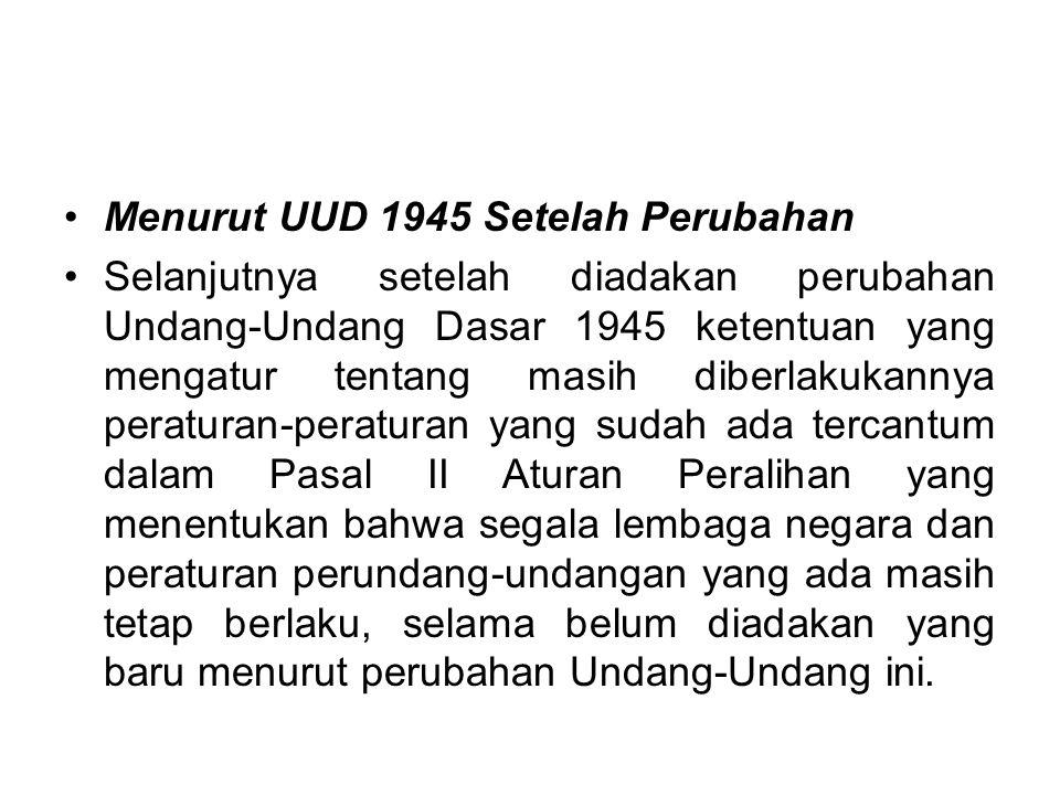 Menurut UUD 1945 Setelah Perubahan