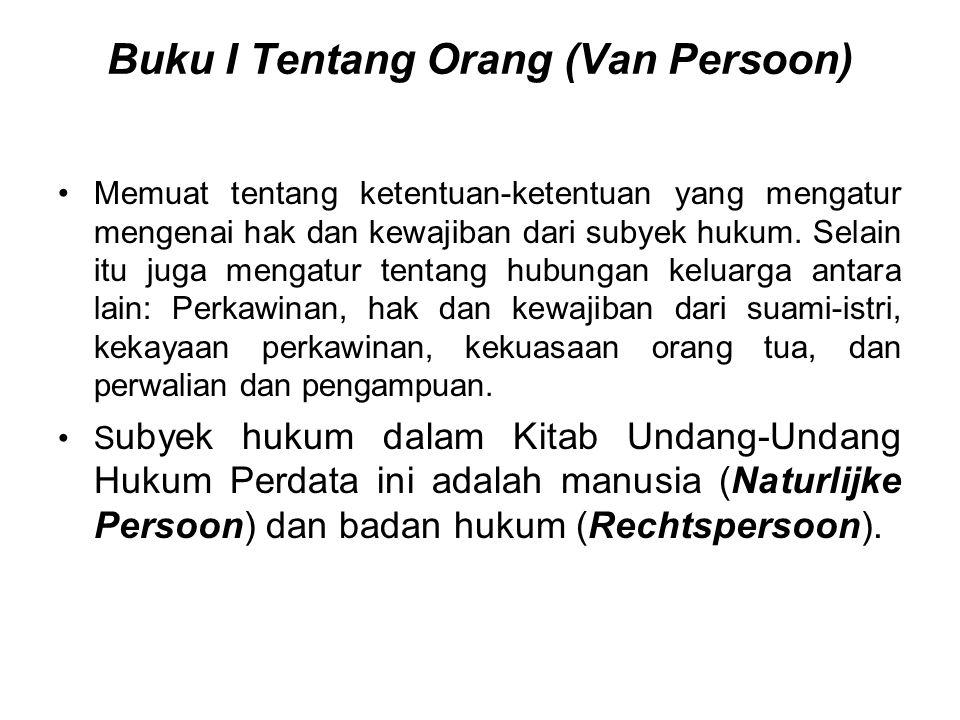 Buku I Tentang Orang (Van Persoon)