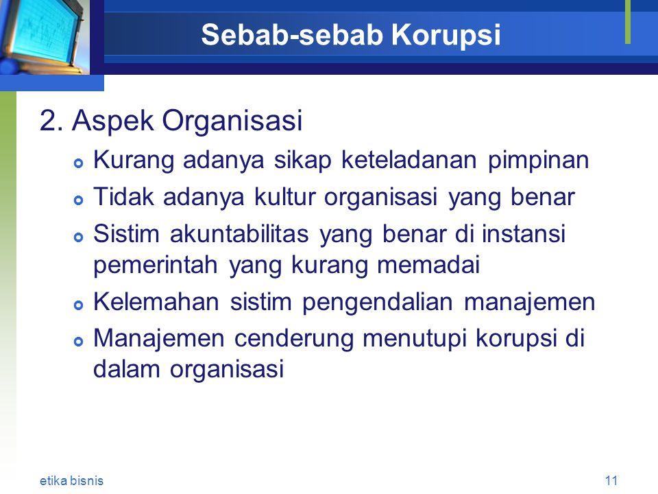 Sebab-sebab Korupsi 2. Aspek Organisasi