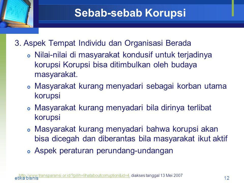Sebab-sebab Korupsi 3. Aspek Tempat Individu dan Organisasi Berada