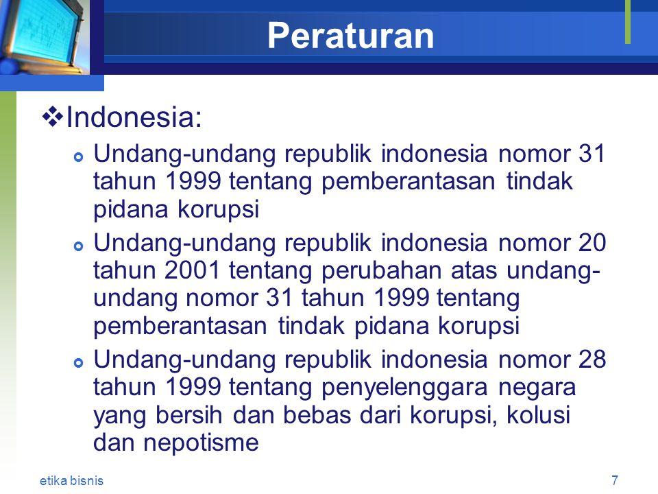 Peraturan Indonesia: Undang-undang republik indonesia nomor 31 tahun 1999 tentang pemberantasan tindak pidana korupsi.