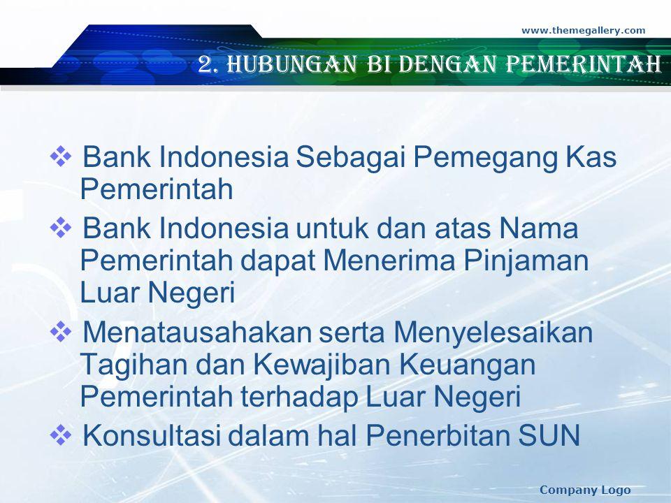 2. Hubungan BI dengan Pemerintah