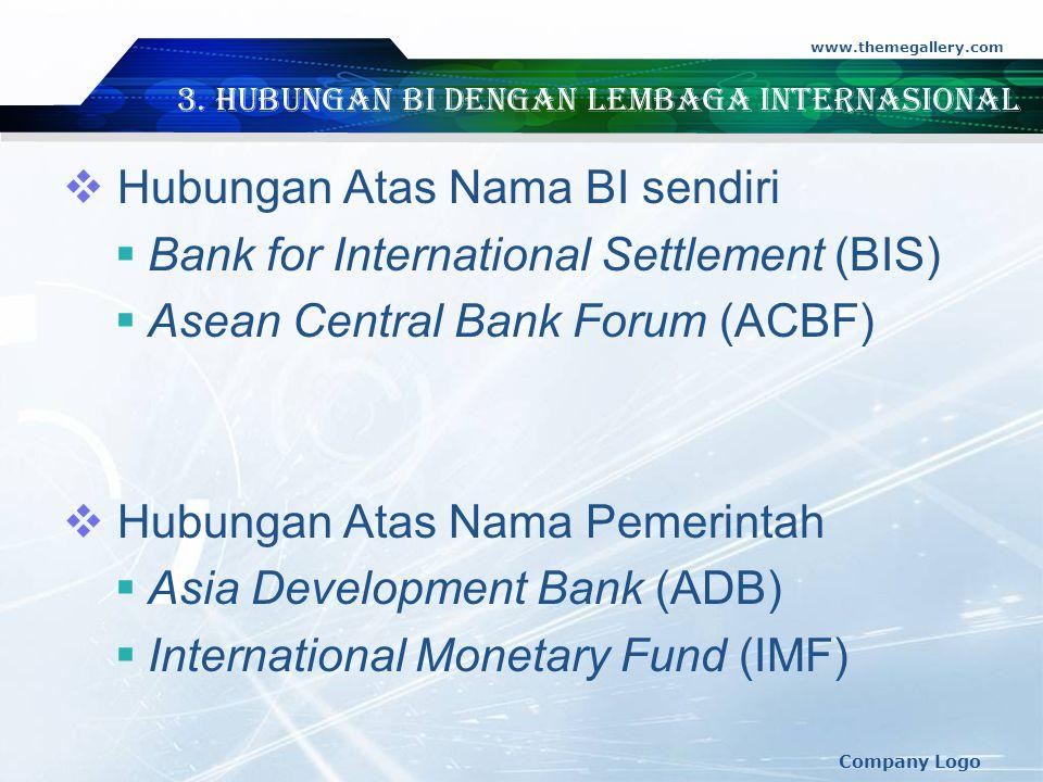 3. Hubungan BI dengan Lembaga Internasional