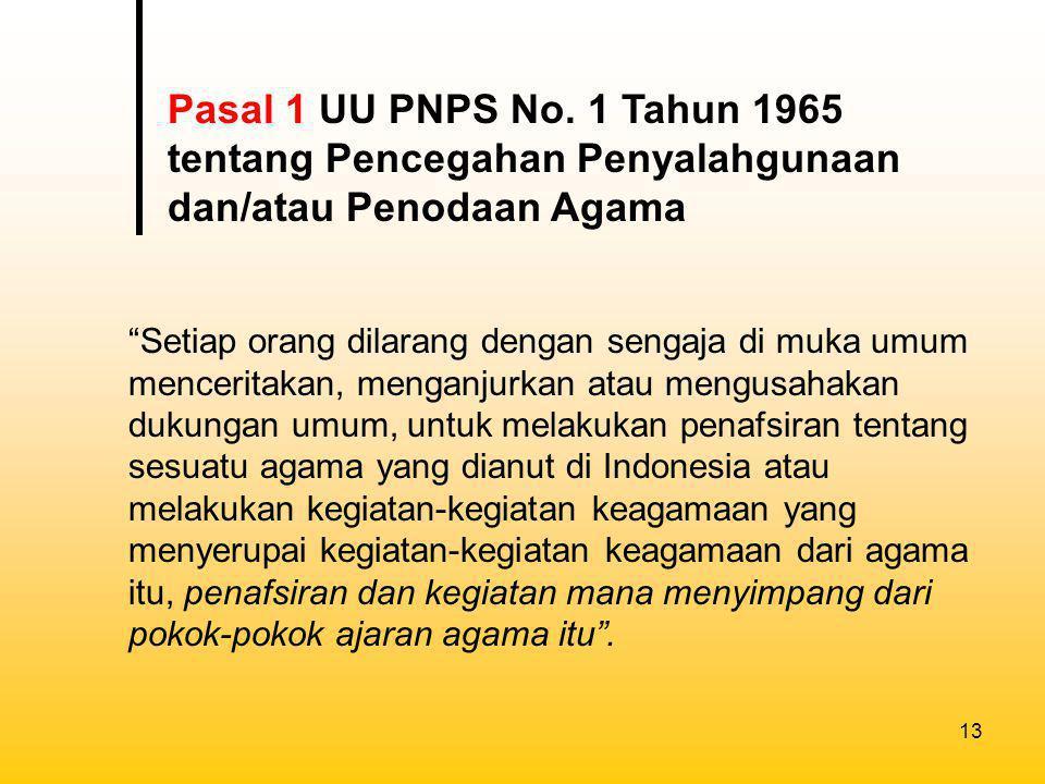 Pasal 1 UU PNPS No. 1 Tahun 1965 tentang Pencegahan Penyalahgunaan dan/atau Penodaan Agama