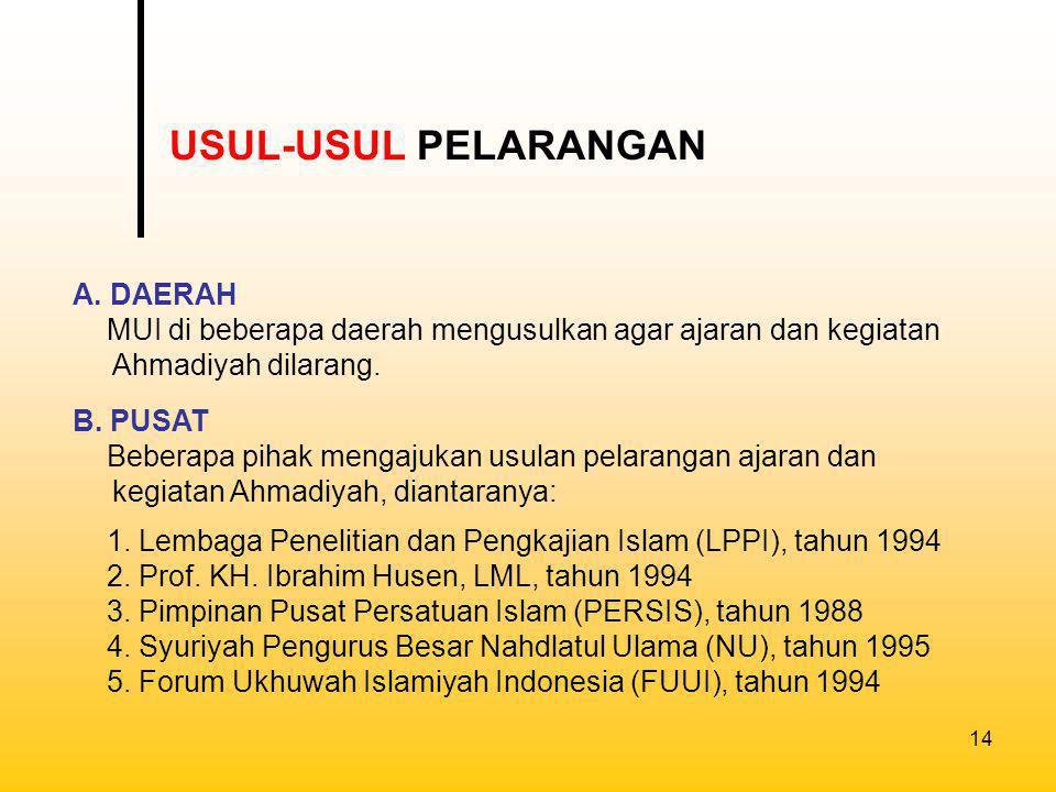 USUL-USUL PELARANGAN A. DAERAH