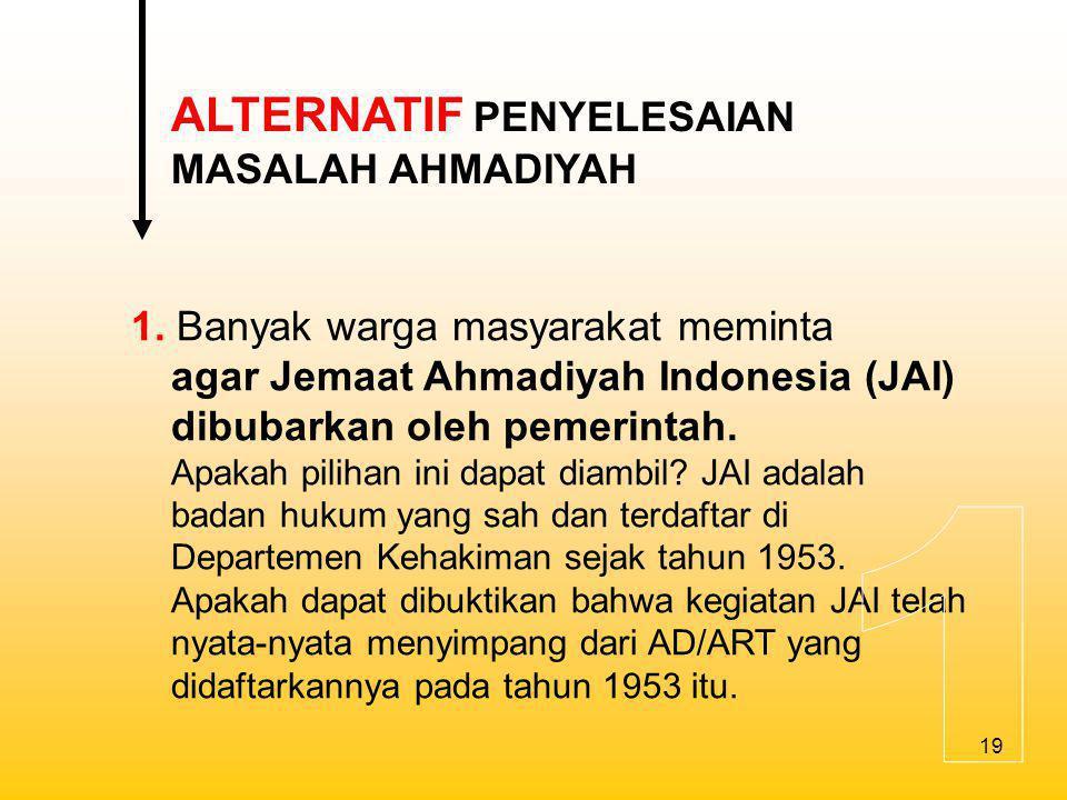 1 ALTERNATIF PENYELESAIAN MASALAH AHMADIYAH