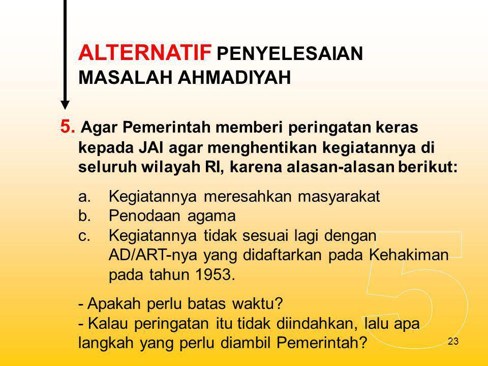 5 ALTERNATIF PENYELESAIAN MASALAH AHMADIYAH