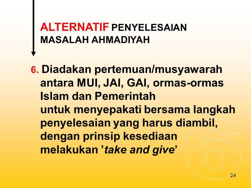 6 ALTERNATIF PENYELESAIAN MASALAH AHMADIYAH