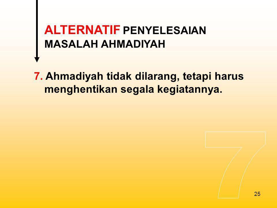 7 ALTERNATIF PENYELESAIAN MASALAH AHMADIYAH