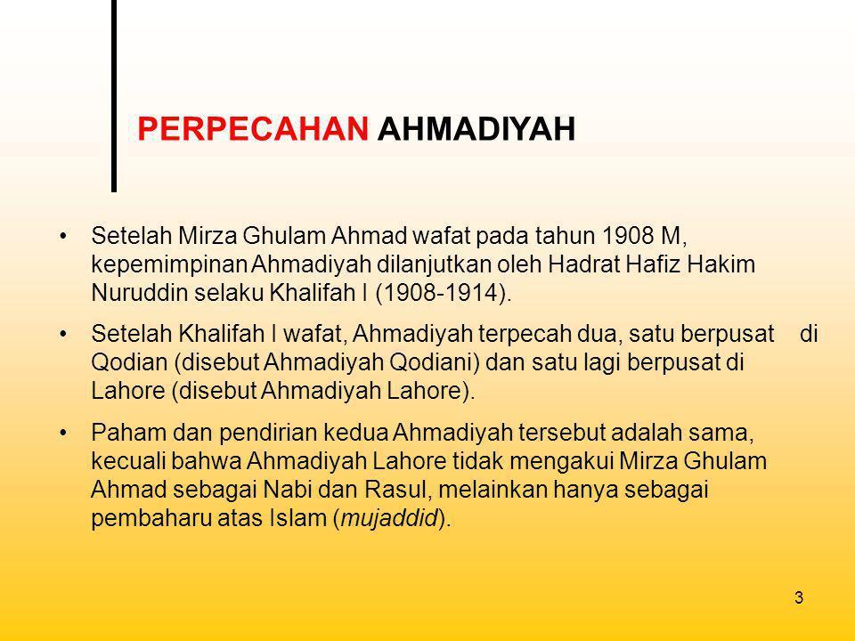 PERPECAHAN AHMADIYAH