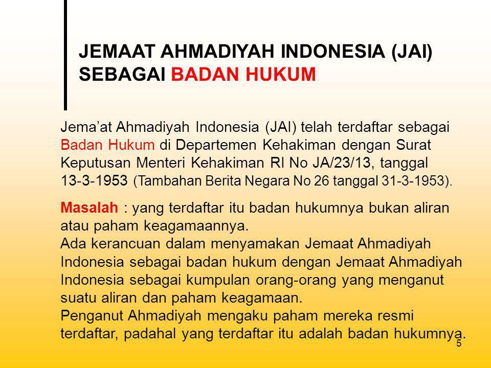 JEMAAT AHMADIYAH INDONESIA (JAI) SEBAGAI BADAN HUKUM
